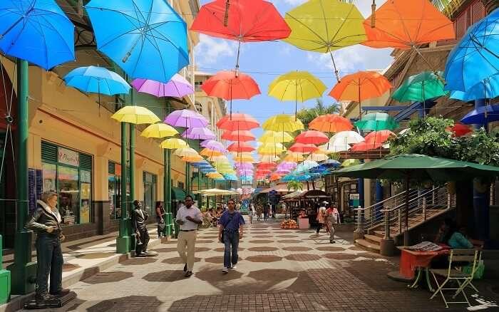 umbrellas in caudan waterfront mall