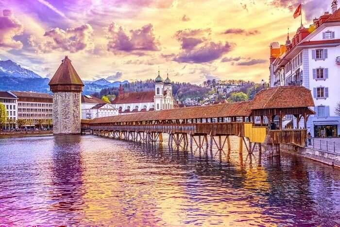 famous bridge in Lucerne