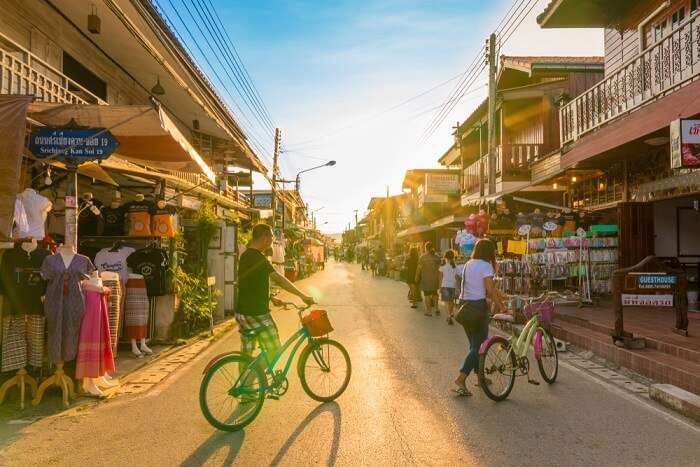 man on a cycle in Loei