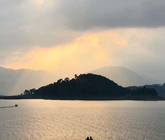 The majestic lake surrounded by hills