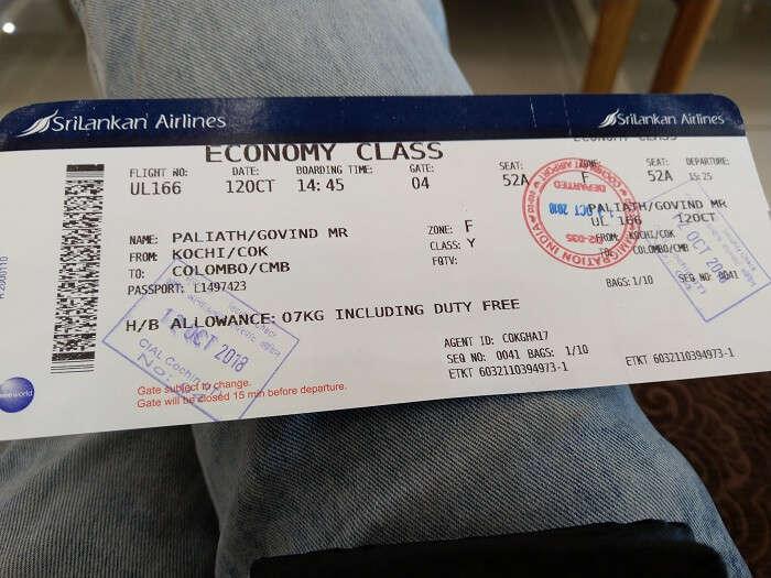 ticket to sri lanka