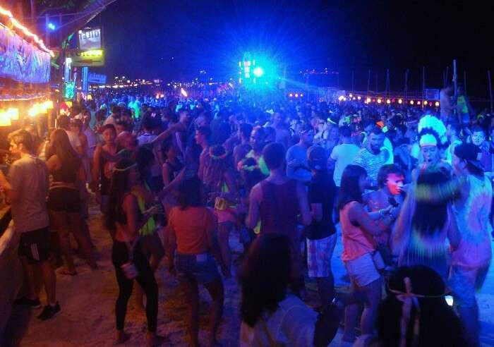 beach party at night