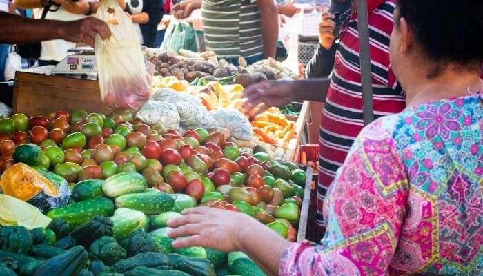open-air food market