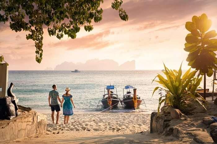 couple on phi phi island beach