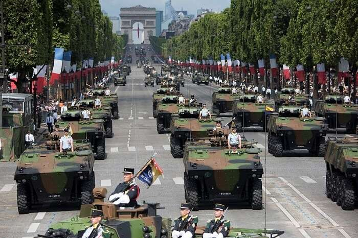 French soldiers, sailors, airmen and Marines lmarch in the annual Bastille Day military parade down the Champs-Elysees in Paris, July 14, 2017. DoD photo by Navy Petty Officer 2nd Class Dominique Pineiro
