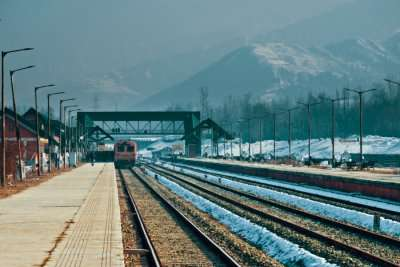 A train on the track in Jammu