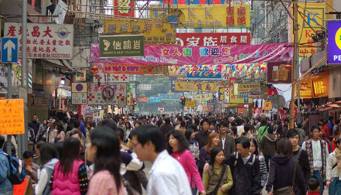 Crowded streets of Hong Kong
