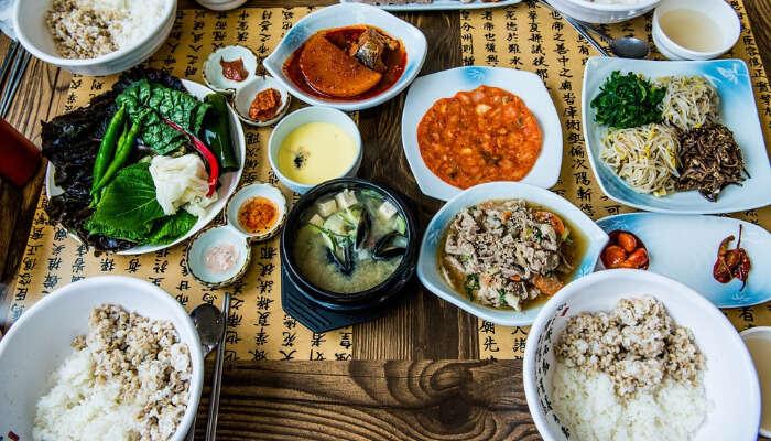 Table full of Korean Food