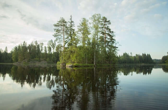 Summer Sky Finnish Beach Island Landscape Lake