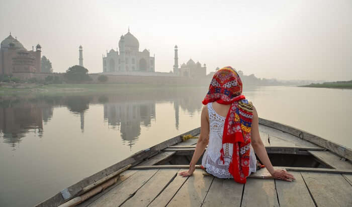 Image result for boat ride taj mahal