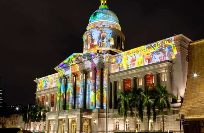 National Gallery Singapore at night