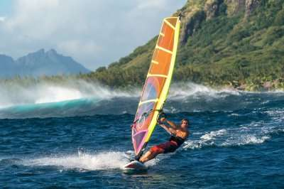 person windsurfing in Mauritius