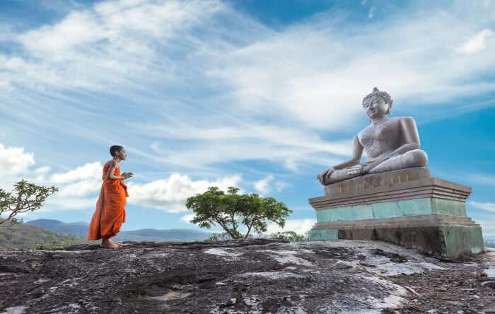 Buddha and monk