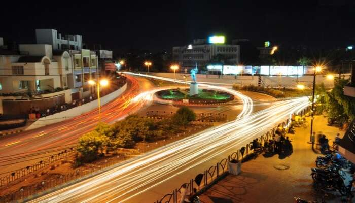 a view of roads and traffic lights
