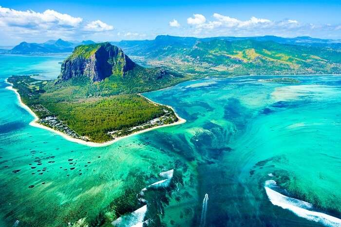 aerial view of island in mauritius
