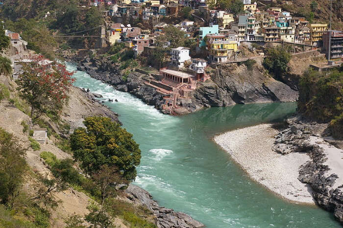 Confluence of Alaknanda and Bagirathi Rivers