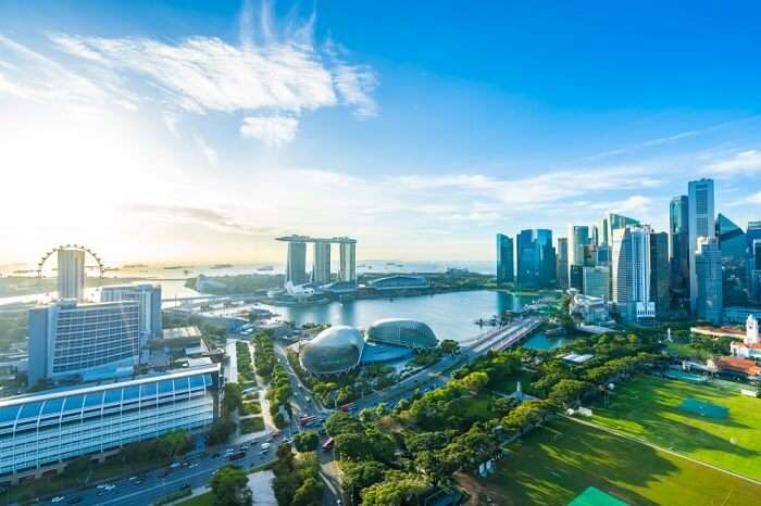 aerial view of Bay in Singapore