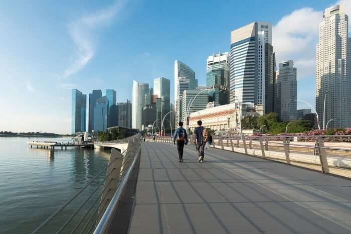 two person walking in Singapore