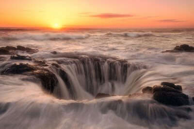 sunset view of Thor's well