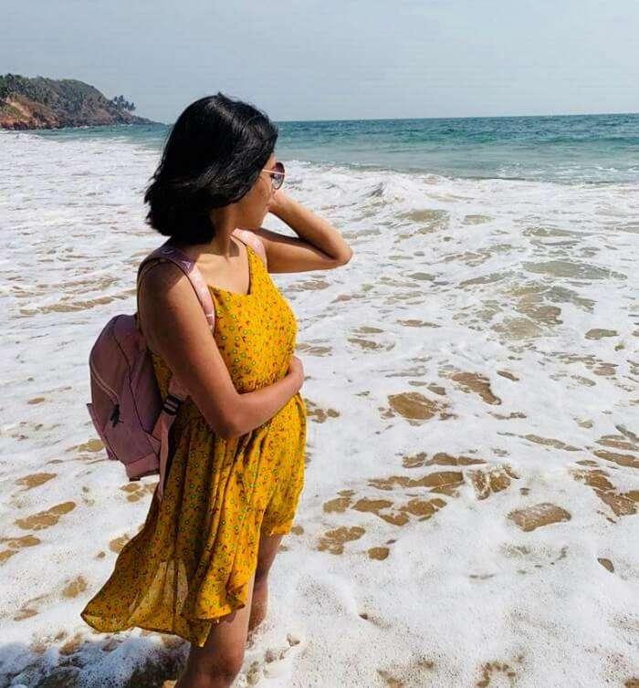 enjoying the pleasant calm beach