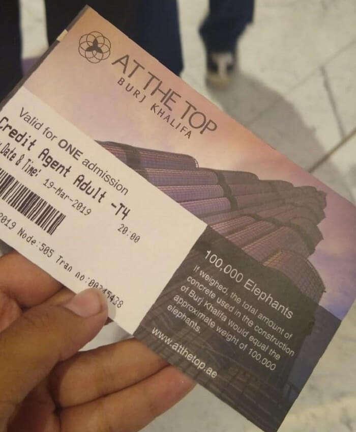 ticket to the burj khalifa