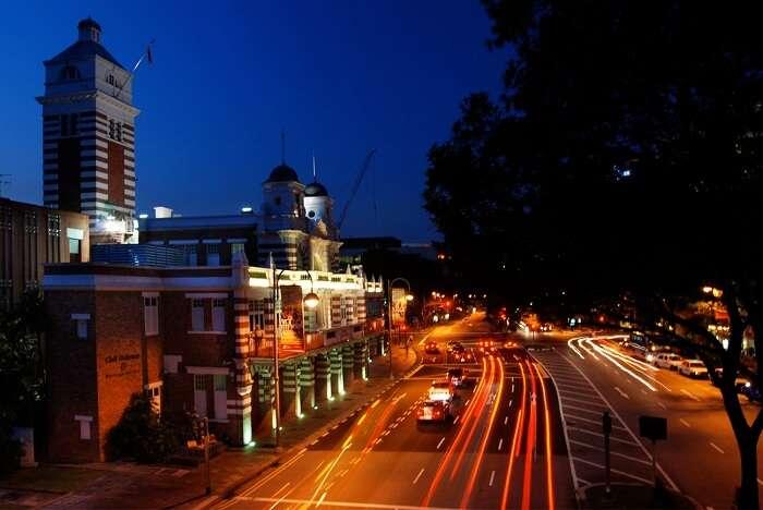 Night view of civil defence heritage gallery singapore