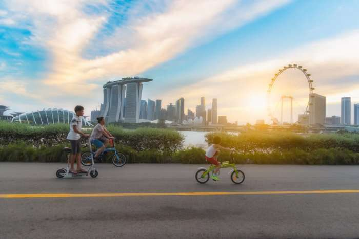 Kids cycling in Singapore