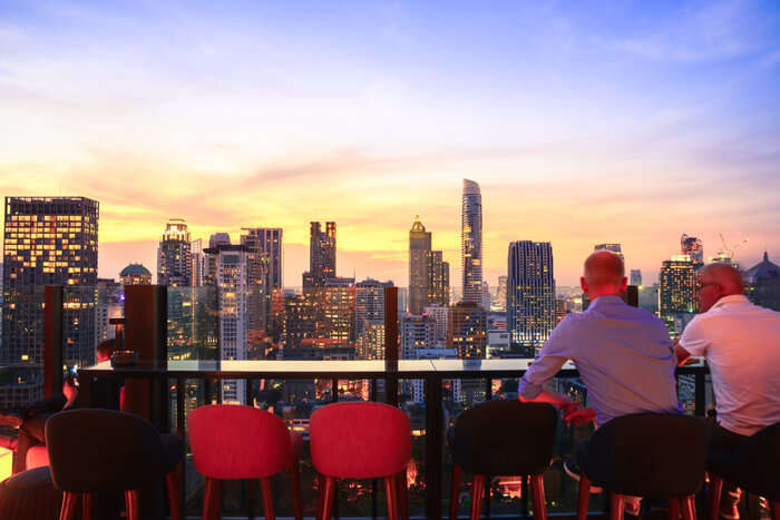 view from a rooftop bar