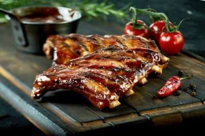 Grilled spare ribs BBQ tomatoes vintage
