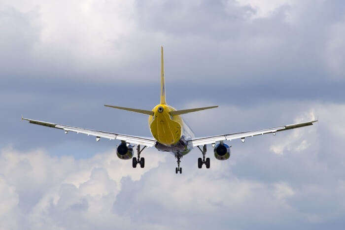 Tail View Plane Landing Clouds Sky Passenger Jet