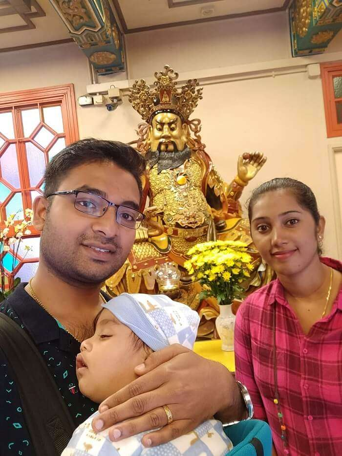 at the temple