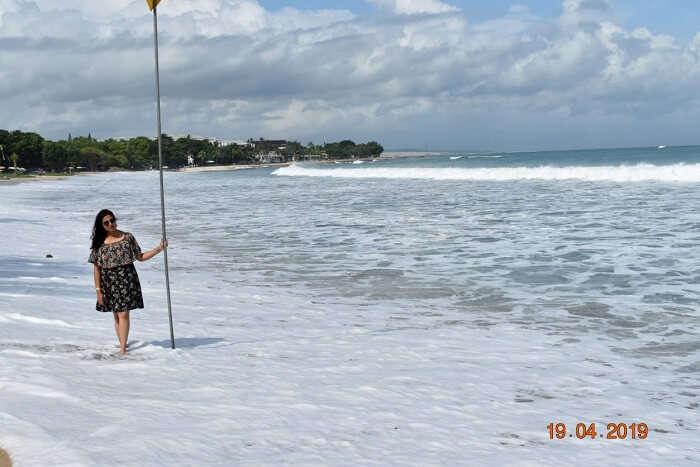 enjoying the experience on the beach walk
