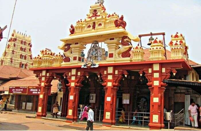 Hindu temple visited by worshippers