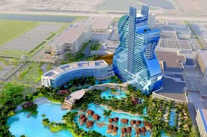 View of guitar shaped hotel