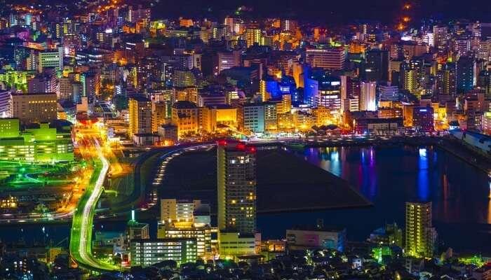 aerial shot of city lights