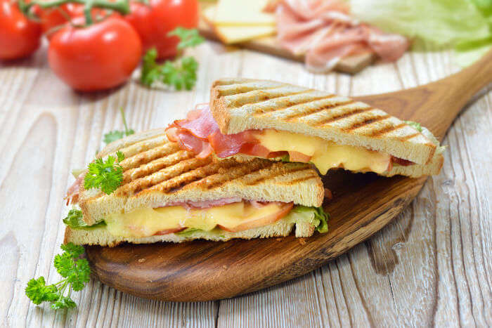 Grilled toast with ham