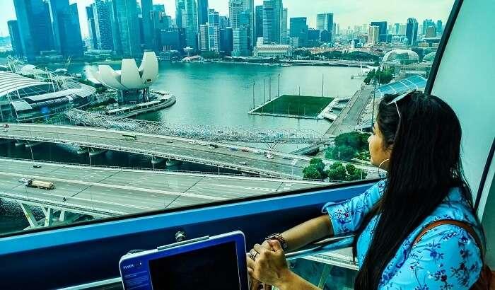 sitting at singapore flyer