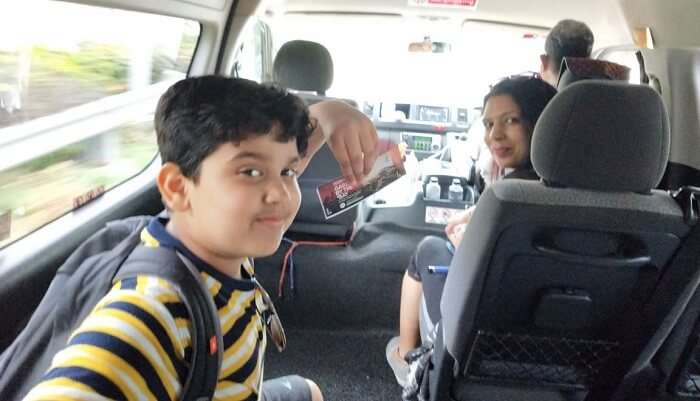 sitting in the car and having fun with family