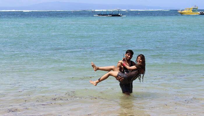 enjoying the romantic moments on the beach