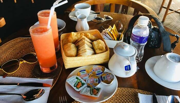 having the delicious breakfast in hotel