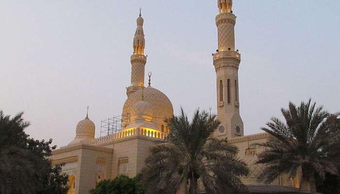 a shot of mosque taken in evening