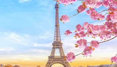 eiffel tower in paris during spring