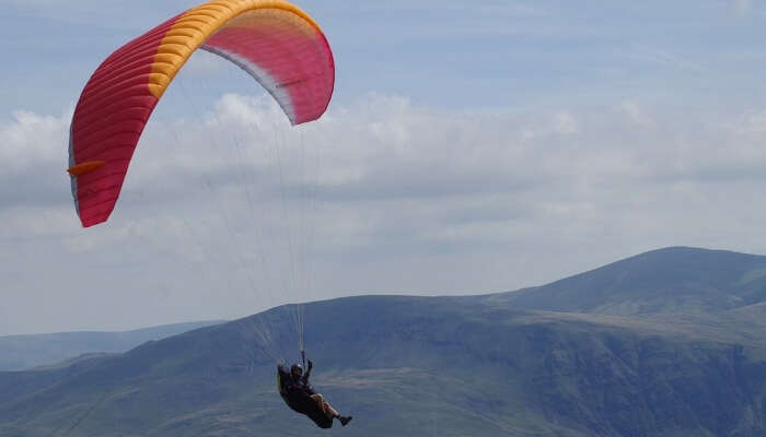 paragliding above the mountains