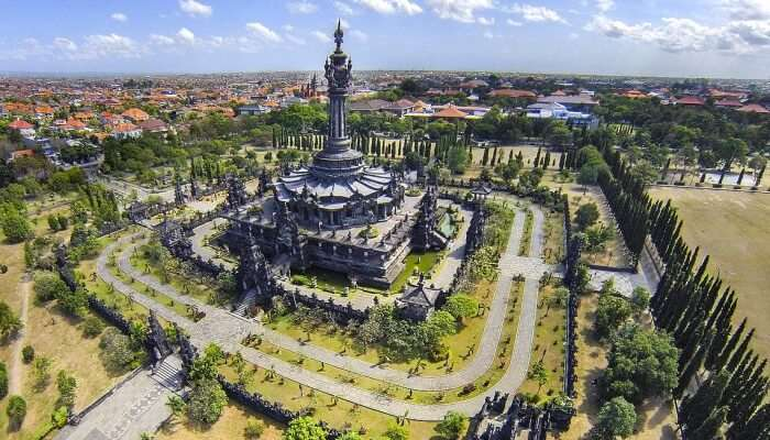 Aerial view of a monument in Bali