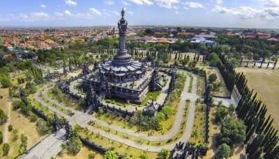 aerial shot of a monument in Bali