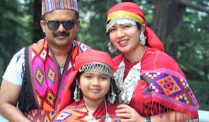 dressed up in a traditional Himachali attire