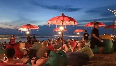enjoying at beach in bali