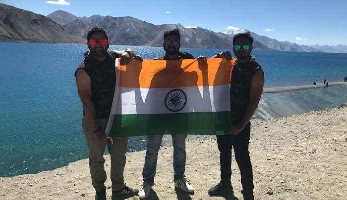 standing with indian flag