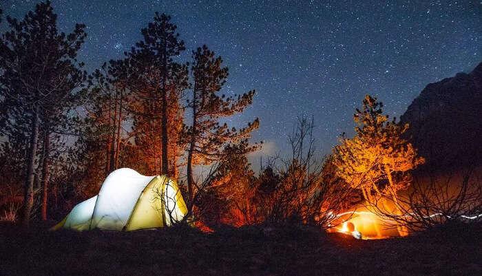 Lake Camping at Night