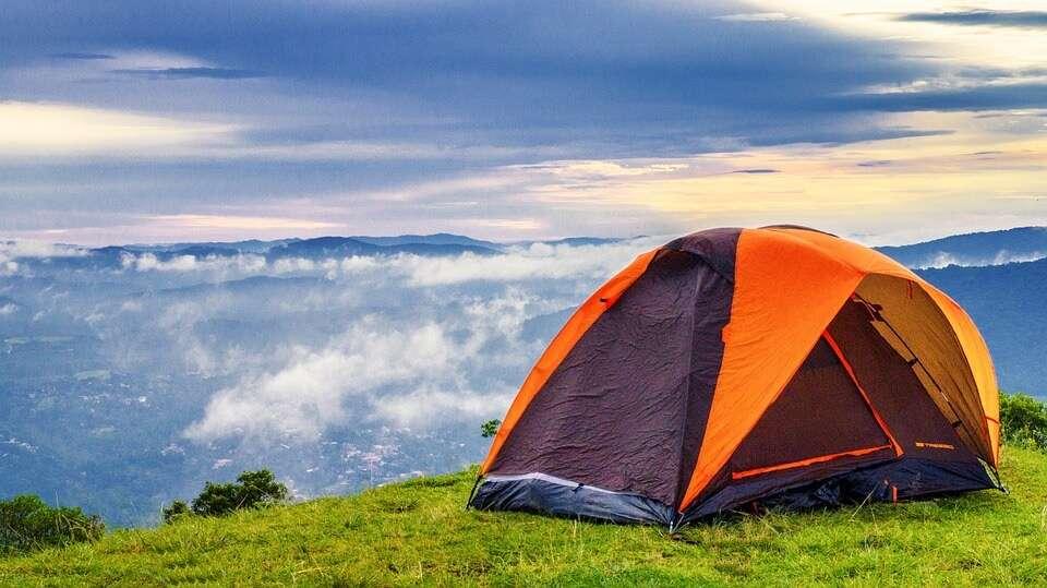 camping under beautiful sky